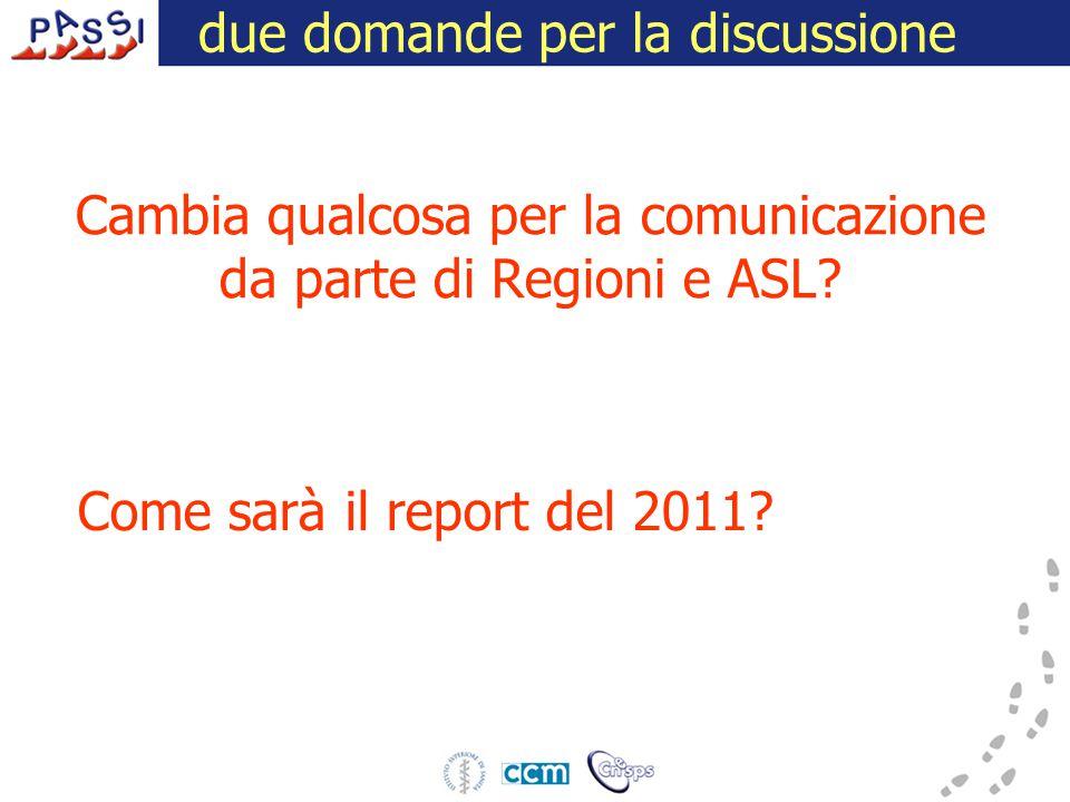 Cambia qualcosa per la comunicazione da parte di Regioni e ASL? 16 dicembre 2009 due domande per la discussione Come sarà il report del 2011?