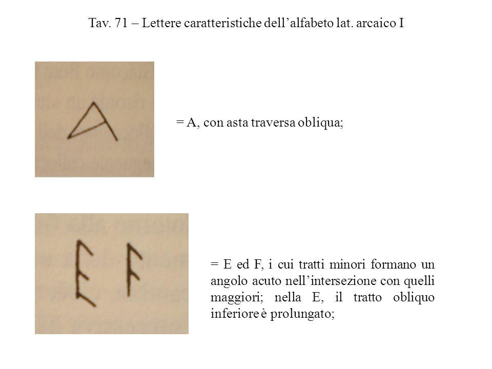 Tav. 71 – Lettere caratteristiche dell'alfabeto lat. arcaico I = A, con asta traversa obliqua; = E ed F, i cui tratti minori formano un angolo acuto n