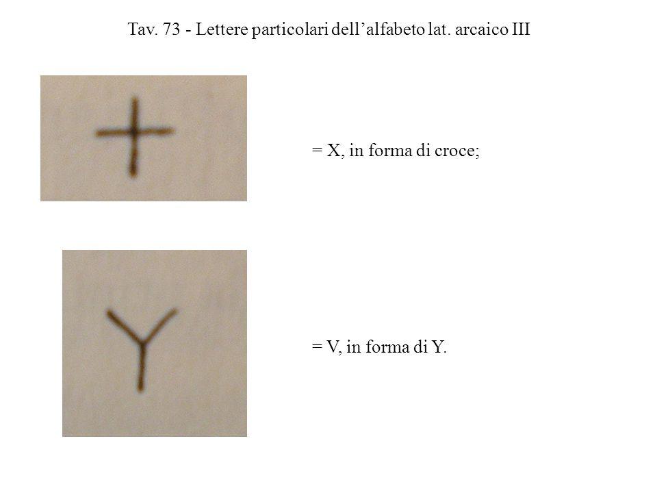 Tav. 73 - Lettere particolari dell'alfabeto lat. arcaico III = X, in forma di croce; = V, in forma di Y.