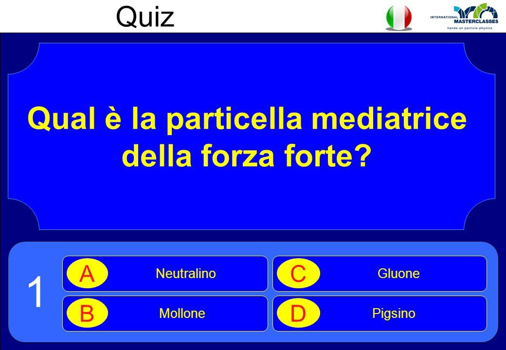 Quiz Qual è la particella mediatrice della forza forte? Neutralino A Mollone B Gluone C Pigsino D 1