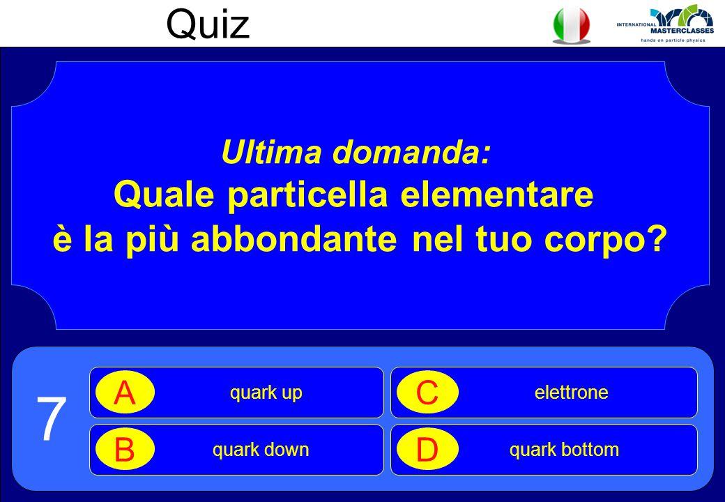 Quiz Ultima domanda: Quale particella elementare è la più abbondante nel tuo corpo? quark up A quark down B elettrone C quark bottom D 7
