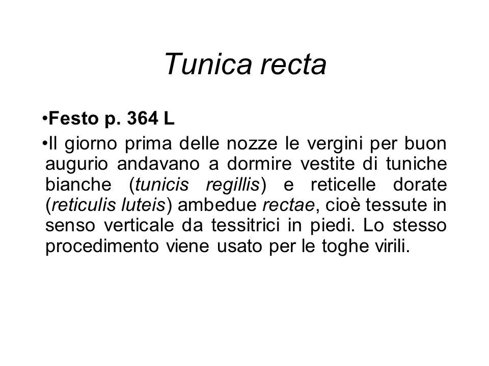 Tunica recta Festo p. 364 L Il giorno prima delle nozze le vergini per buon augurio andavano a dormire vestite di tuniche bianche (tunicis regillis) e