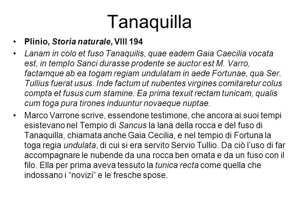 Tanaquilla Plinio, Storia naturale, VIII 194 Lanam in colo et fuso Tanaquilis, quae eadem Gaia Caecilia vocata est, in tempIo Sanci durasse prodente s