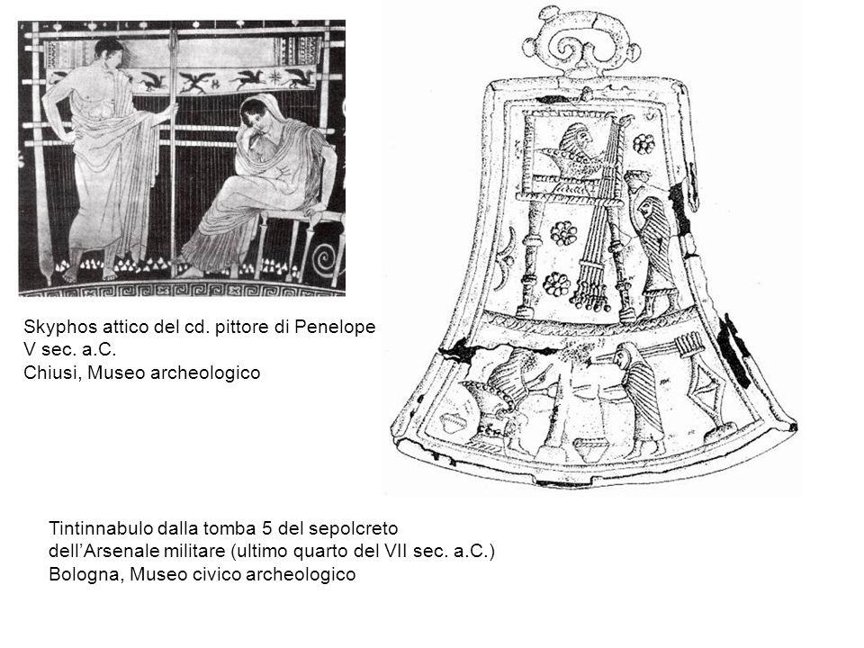 Skyphos attico del cd. pittore di Penelope V sec. a.C. Chiusi, Museo archeologico Tintinnabulo dalla tomba 5 del sepolcreto dell'Arsenale militare (ul