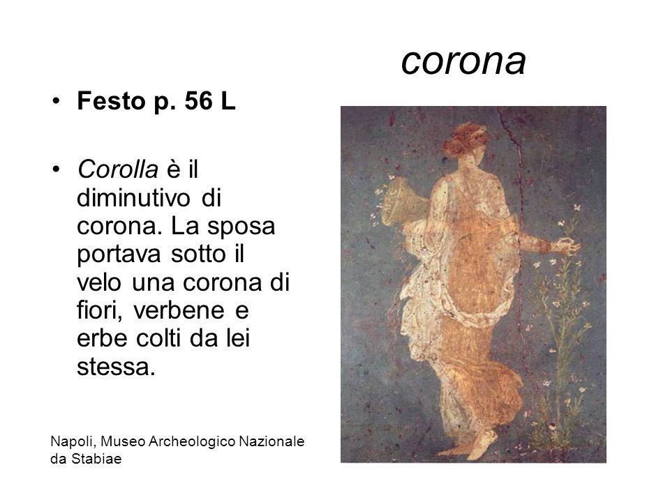 corona Festo p. 56 L Corolla è il diminutivo di corona. La sposa portava sotto il velo una corona di fiori, verbene e erbe colti da lei stessa. Napoli