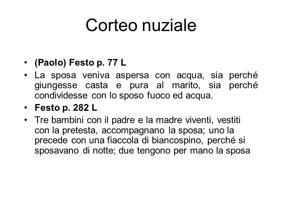 Corteo nuziale (Paolo) Festo p. 77 L La sposa veniva aspersa con acqua, sia perché giungesse casta e pura al marito, sia perché condividesse con lo sp