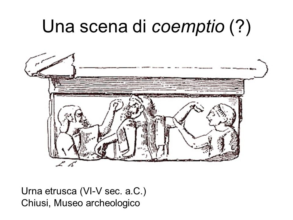 Una scena di coemptio (?) Urna etrusca (VI-V sec. a.C.) Chiusi, Museo archeologico