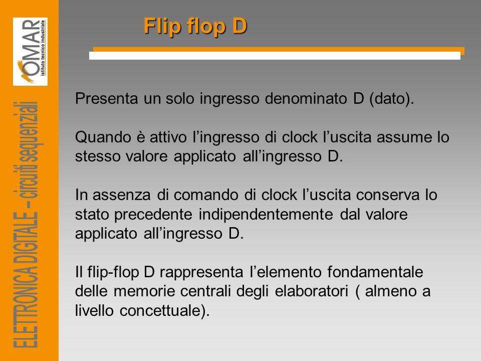 Flip flop D Presenta un solo ingresso denominato D (dato).