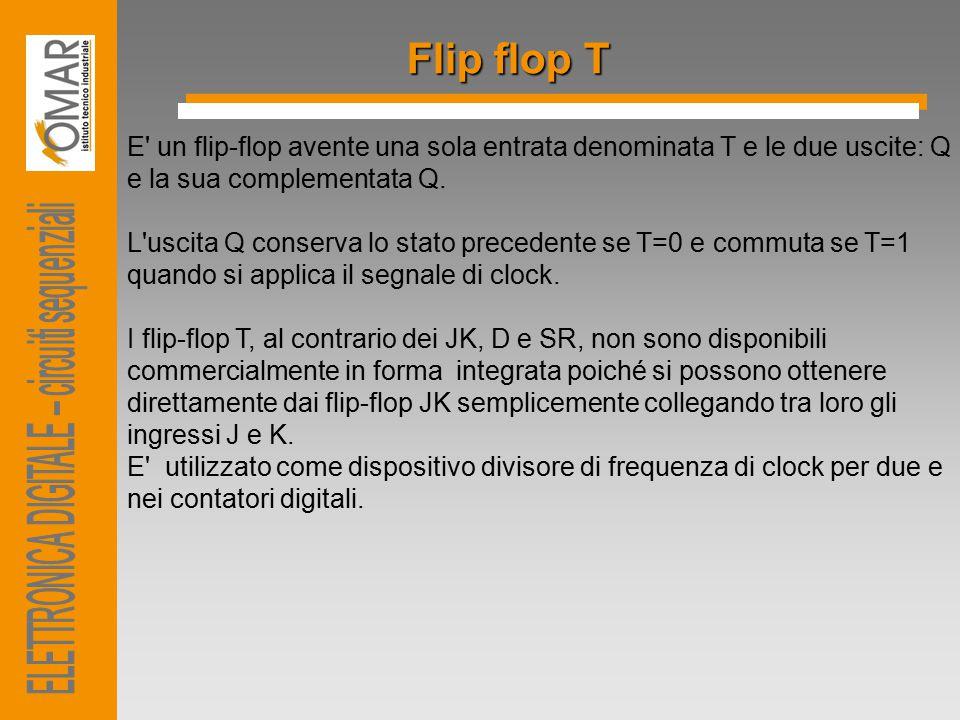 Flip flop T E un flip-flop avente una sola entrata denominata T e le due uscite: Q e la sua complementata Q.