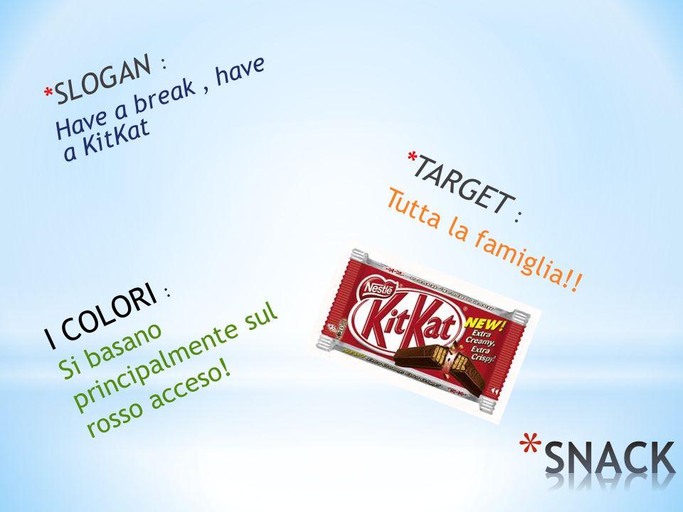 *SLOGAN : Have a break, have a KitKat *TARGET : Tutta la famiglia!! I COLORI : Si basano principalmente sul rosso acceso!