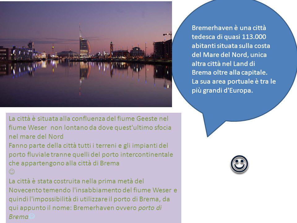Bremerhaven è una città tedesca di quasi 113.000 abitanti situata sulla costa del Mare del Nord, unica altra città nel Land di Brema oltre alla capitale.