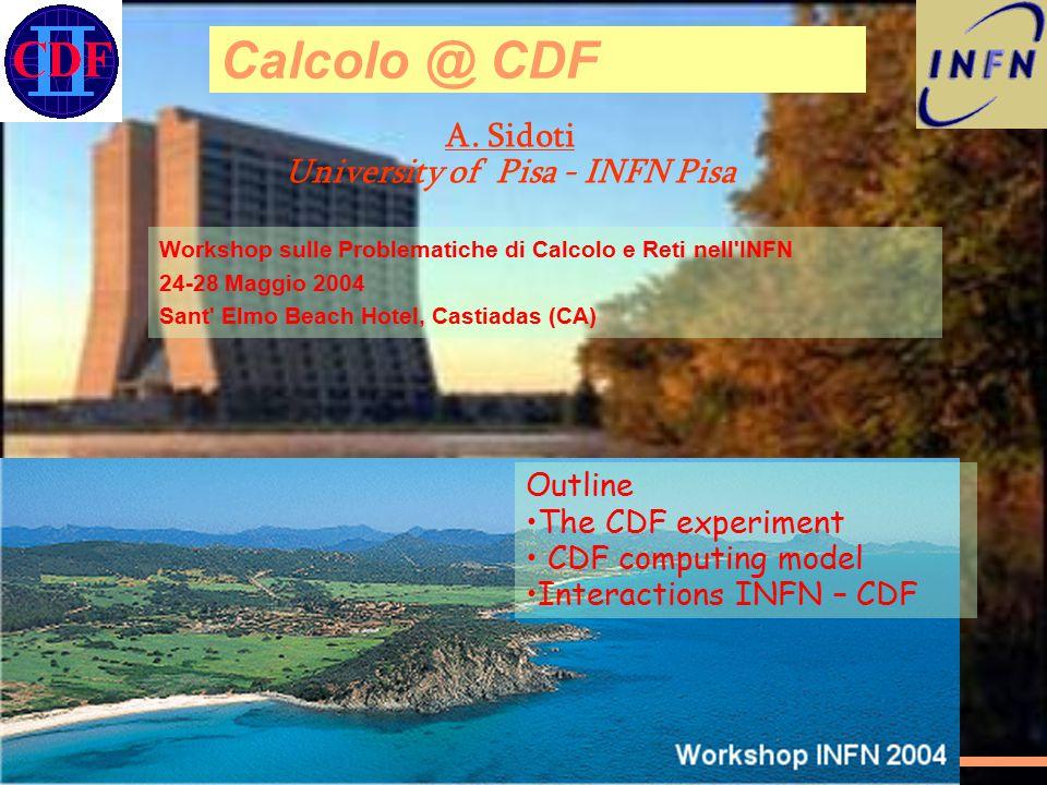 A. Sidoti University of Pisa - INFN Pisa Calcolo @ CDF 1 Workshop sulle Problematiche di Calcolo e Reti nell'INFN 24-28 Maggio 2004 Sant' Elmo Beach H