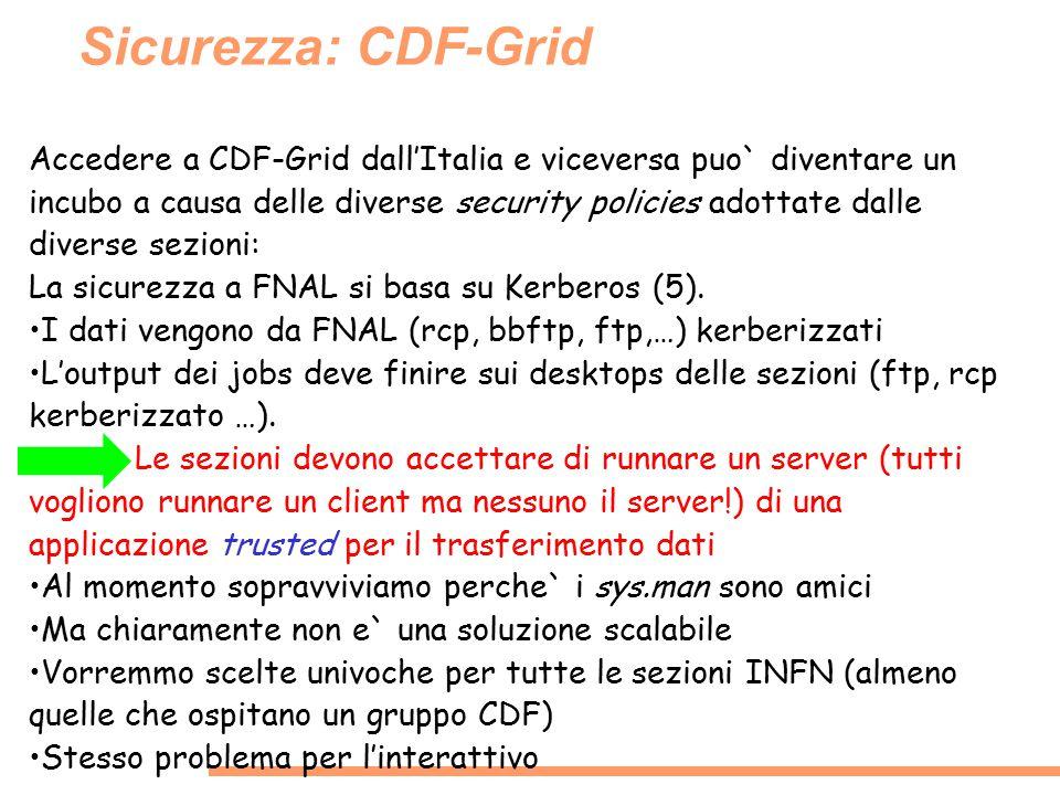 Sicurezza: CDF-Grid Accedere a CDF-Grid dall'Italia e viceversa puo` diventare un incubo a causa delle diverse security policies adottate dalle divers