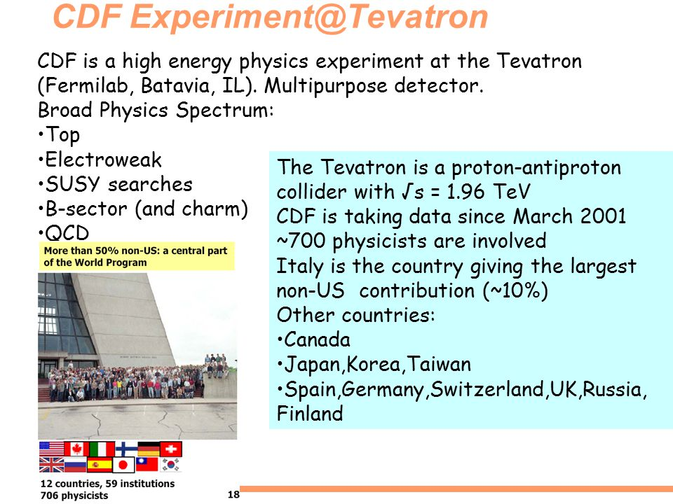 CDF Experiment@Tevatron CDF is a high energy physics experiment at the Tevatron (Fermilab, Batavia, IL).