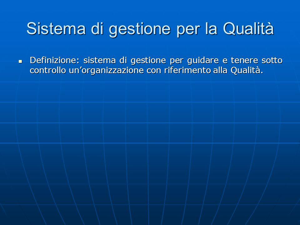 Sistema di gestione per la Qualità Definizione: sistema di gestione per guidare e tenere sotto controllo un'organizzazione con riferimento alla Qualità.