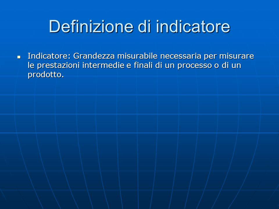 Definizione di indicatore Indicatore: Grandezza misurabile necessaria per misurare le prestazioni intermedie e finali di un processo o di un prodotto.