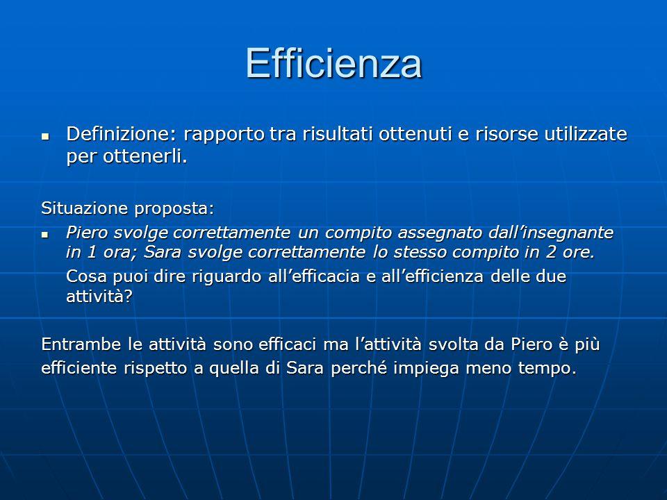 Efficienza Definizione: rapporto tra risultati ottenuti e risorse utilizzate per ottenerli.