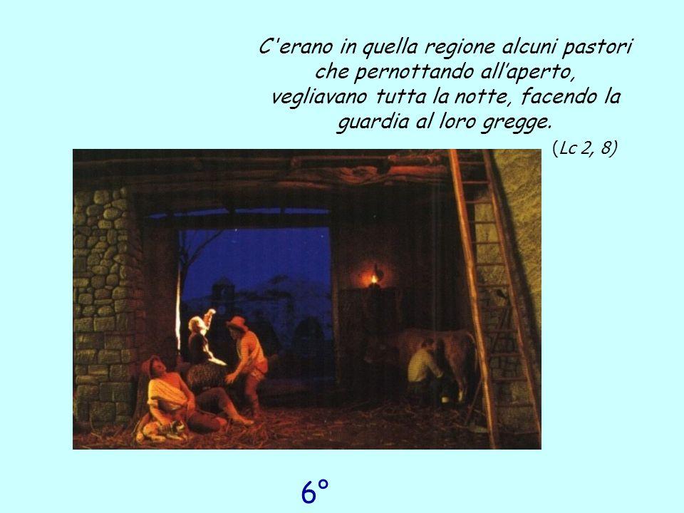 6° giorno C'erano in quella regione alcuni pastori che pernottando all'aperto, vegliavano tutta la notte, facendo la guardia al loro gregge. ( Lc 2, 8