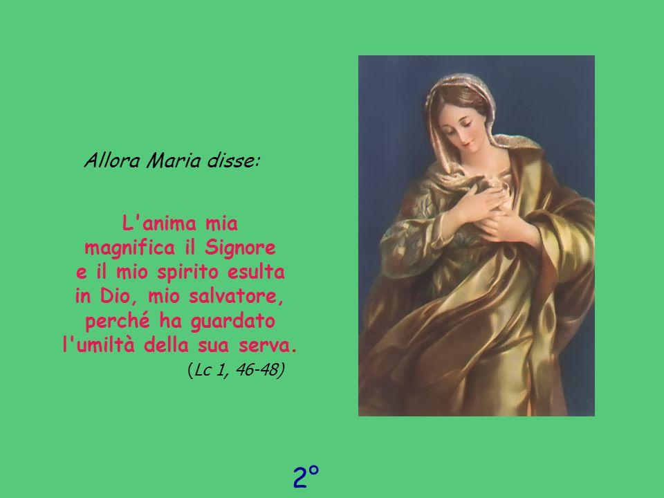 Allora Maria disse: L'anima mia magnifica il Signore e il mio spirito esulta in Dio, mio salvatore, perché ha guardato l'umiltà della sua serva. ( Lc