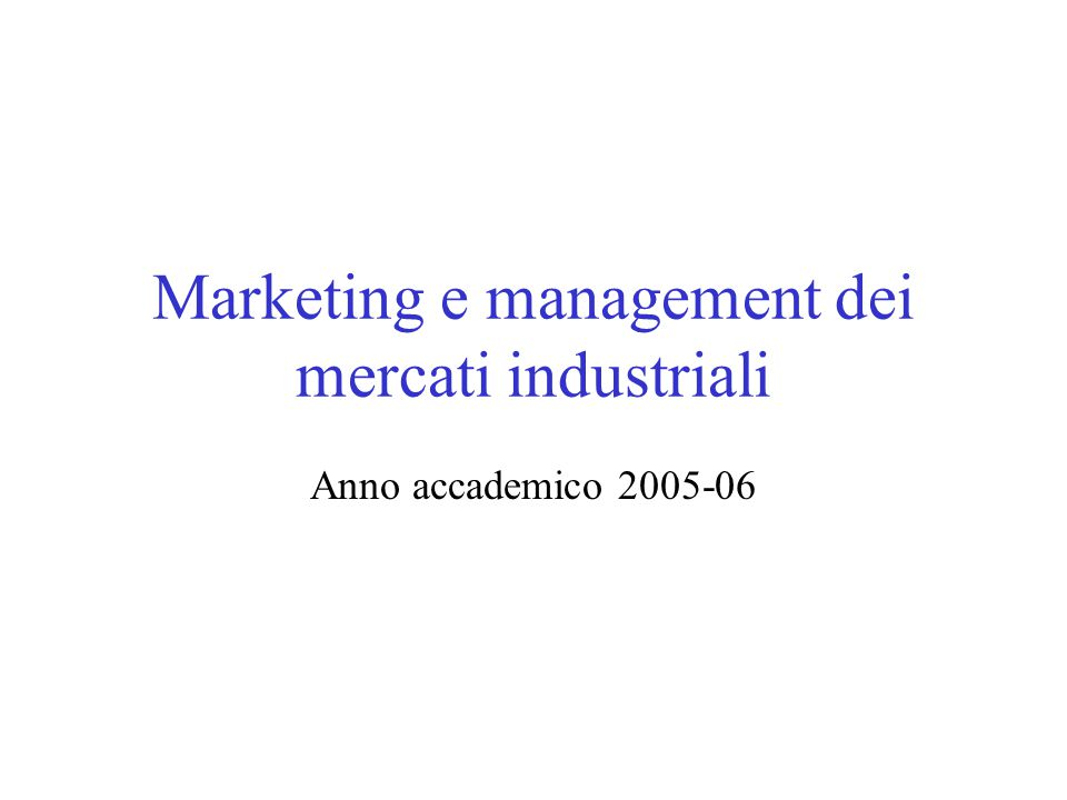 Marketing e management dei mercati industriali Anno accademico 2005-06