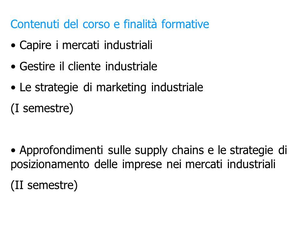 Contenuti del corso e finalità formative Capire i mercati industriali Gestire il cliente industriale Le strategie di marketing industriale (I semestre