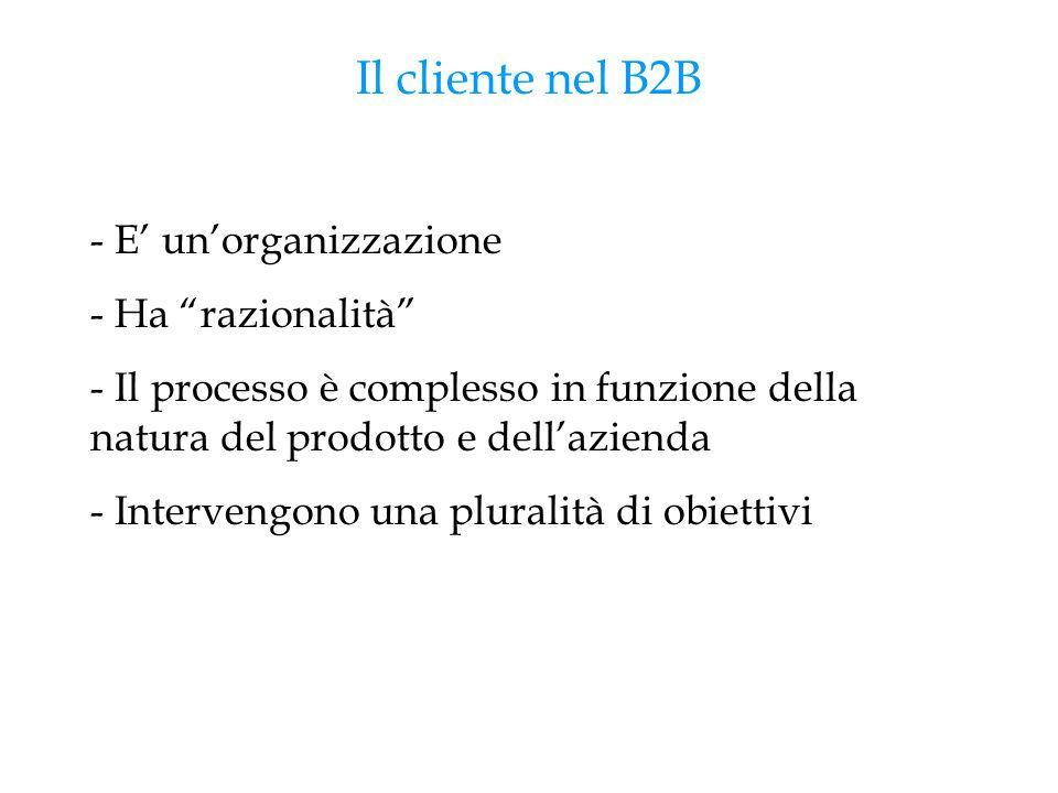 """Il cliente nel B2B - E' un'organizzazione - Ha """"razionalità"""" - Il processo è complesso in funzione della natura del prodotto e dell'azienda - Interven"""