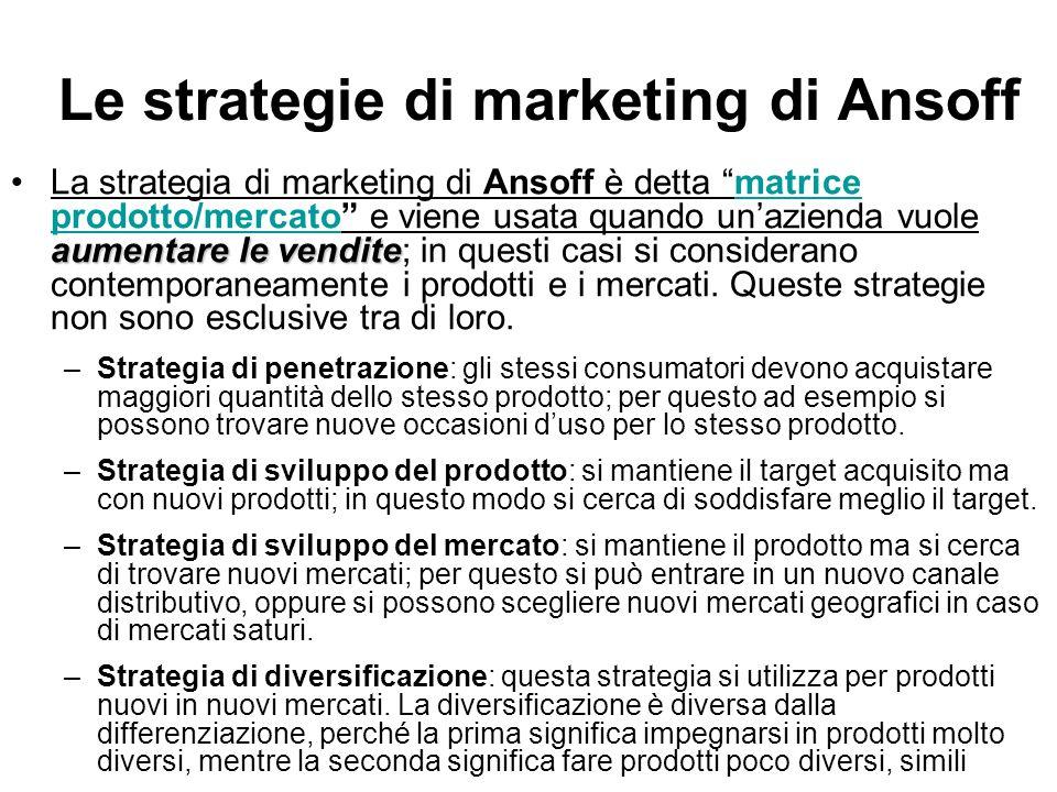 """Le strategie di marketing di Ansoff aumentare le venditeLa strategia di marketing di Ansoff è detta """"matrice prodotto/mercato"""" e viene usata quando un"""