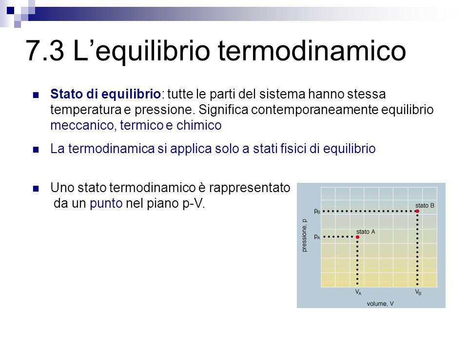 7.2 I sistemi termodinamici Sistema termodinamico = sistema fisico che viene studiato dal punto di vista degli scambi di lavoro e di calore con l'ambiente.