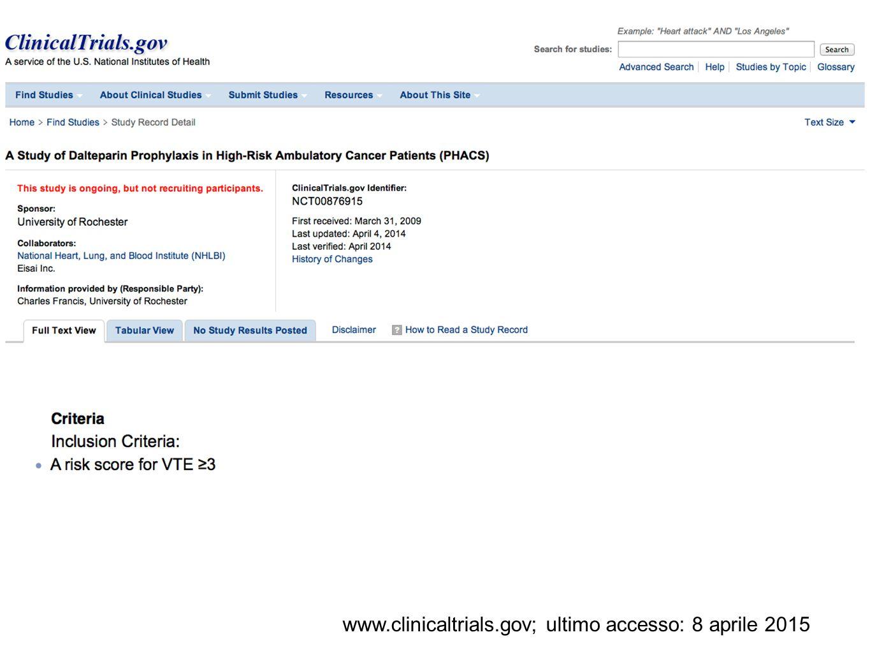 www.clinicaltrials.gov; ultimo accesso: 8 aprile 2015