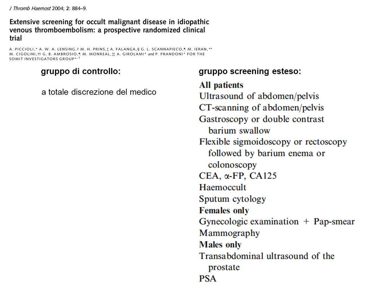 gruppo screening esteso:gruppo di controllo: a totale discrezione del medico