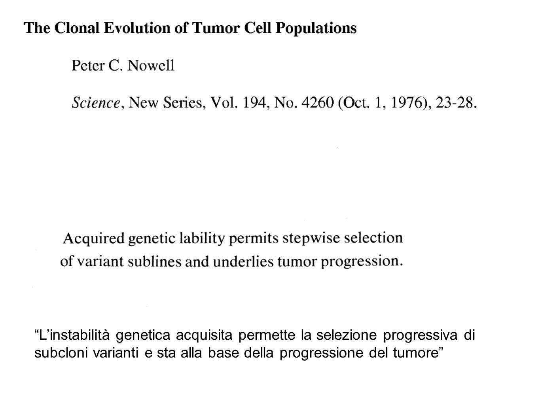 L'instabilità genetica acquisita permette la selezione progressiva di subcloni varianti e sta alla base della progressione del tumore
