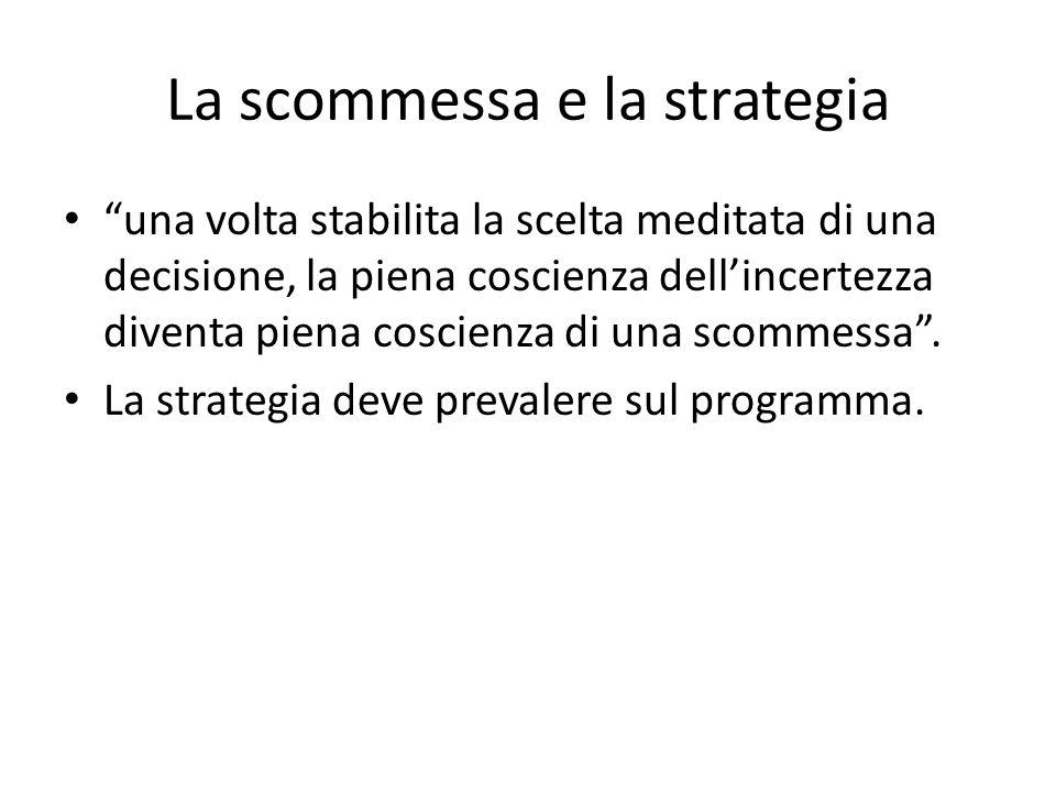 """La scommessa e la strategia """"una volta stabilita la scelta meditata di una decisione, la piena coscienza dell'incertezza diventa piena coscienza di un"""