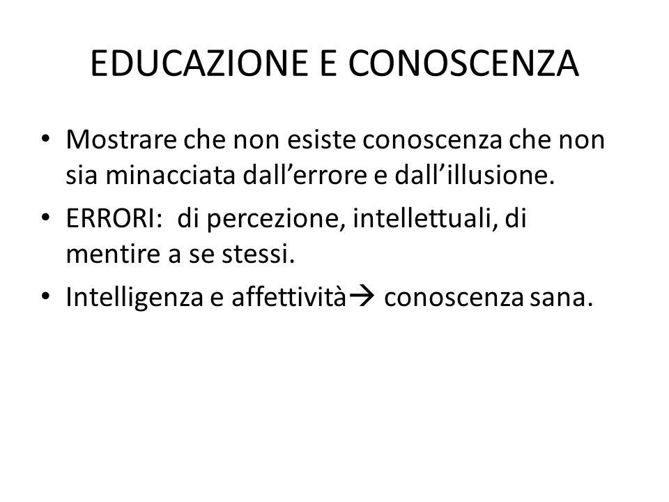 EDUCAZIONE E CONOSCENZA Mostrare che non esiste conoscenza che non sia minacciata dall'errore e dall'illusione. ERRORI: di percezione, intellettuali,