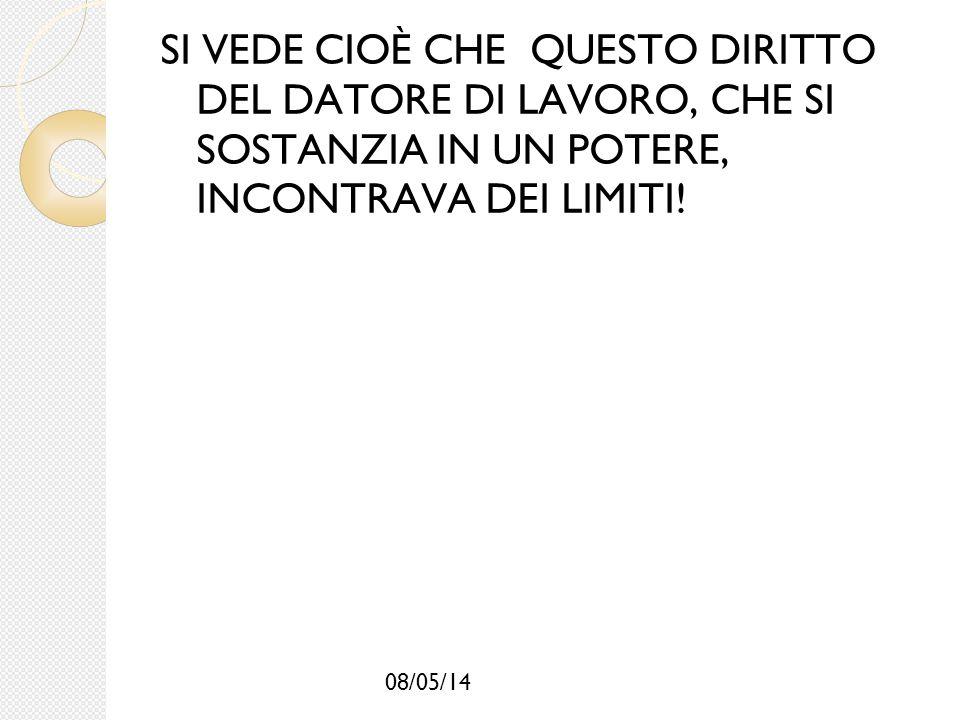 08/05/14 SI VEDE CIOÈ CHE QUESTO DIRITTO DEL DATORE DI LAVORO, CHE SI SOSTANZIA IN UN POTERE, INCONTRAVA DEI LIMITI!