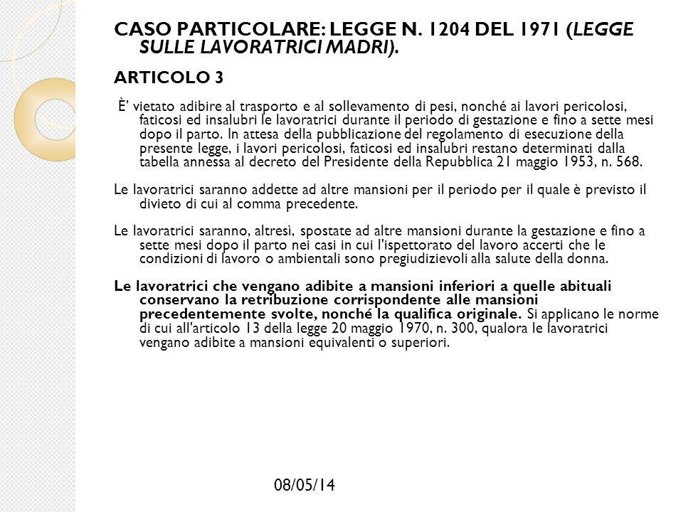 08/05/14 CASO PARTICOLARE: LEGGE N. 1204 DEL 1971 (LEGGE SULLE LAVORATRICI MADRI). ARTICOLO 3 È' vietato adibire al trasporto e al sollevamento di pes