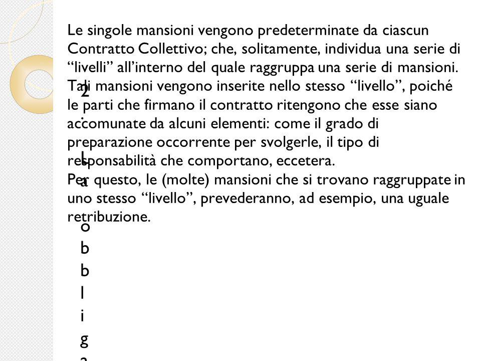 """Le singole mansioni vengono predeterminate da ciascun Contratto Collettivo; che, solitamente, individua una serie di """"livelli"""" all'interno del quale r"""