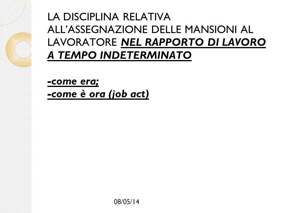 08/05/14 LA DISCIPLINA RELATIVA ALL'ASSEGNAZIONE DELLE MANSIONI AL LAVORATORE NEL RAPPORTO DI LAVORO A TEMPO INDETERMINATO -come era; -come è ora (job