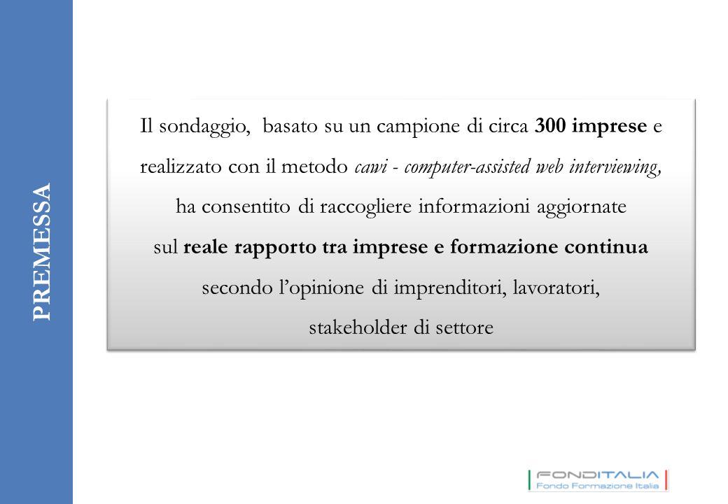 PREMESSA Il sondaggio, basato su un campione di circa 300 imprese e realizzato con il metodo cawi - computer-assisted web interviewing, ha consentito