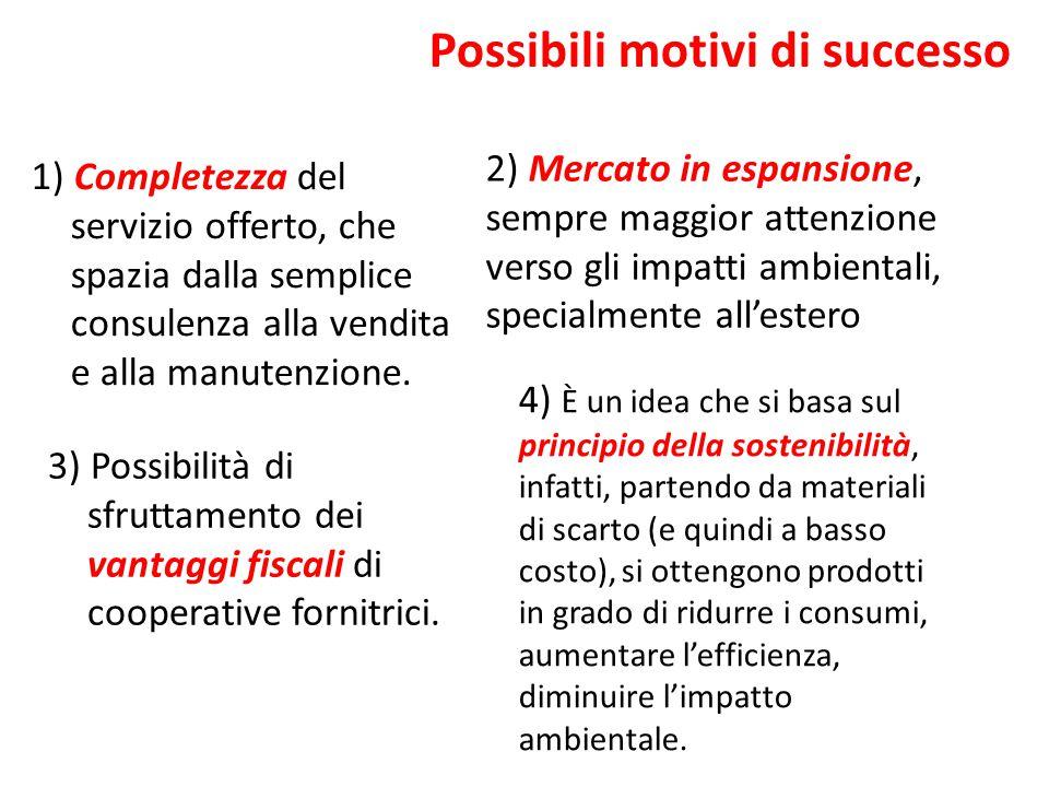 Possibili motivi di successo 1) Completezza del servizio offerto, che spazia dalla semplice consulenza alla vendita e alla manutenzione. 3) Possibilit
