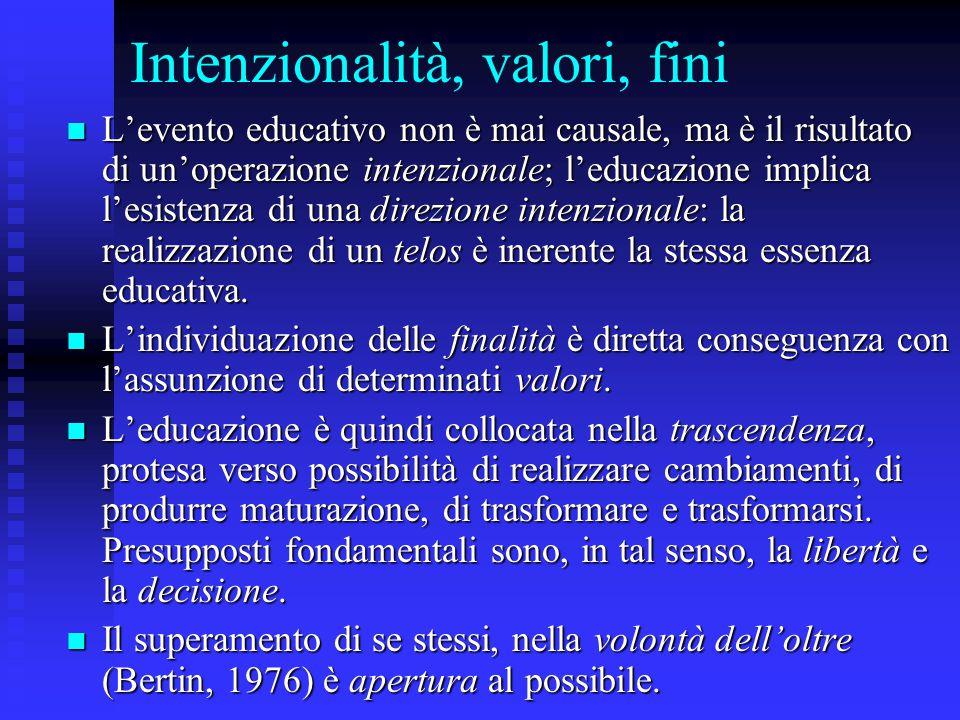 Intenzionalità, valori, fini L'evento educativo non è mai causale, ma è il risultato di un'operazione intenzionale; l'educazione implica l'esistenza d