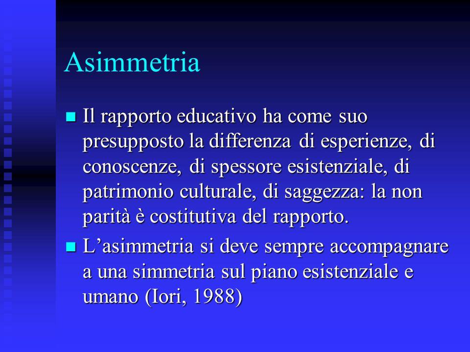 Asimmetria Il rapporto educativo ha come suo presupposto la differenza di esperienze, di conoscenze, di spessore esistenziale, di patrimonio culturale