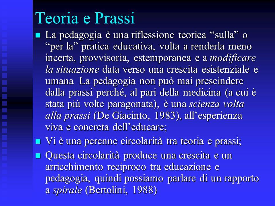 """Teoria e Prassi La pedagogia è una riflessione teorica """"sulla"""" o """"per la"""" pratica educativa, volta a renderla meno incerta, provvisoria, estemporanea"""