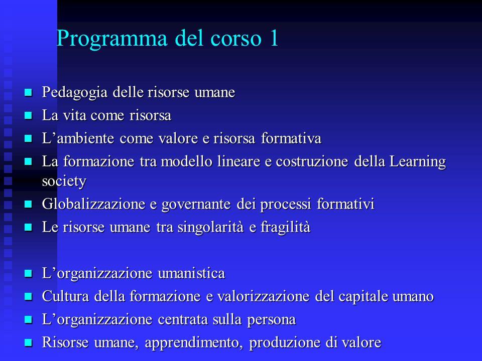 Programma del corso 1 Pedagogia delle risorse umane Pedagogia delle risorse umane La vita come risorsa La vita come risorsa L'ambiente come valore e r