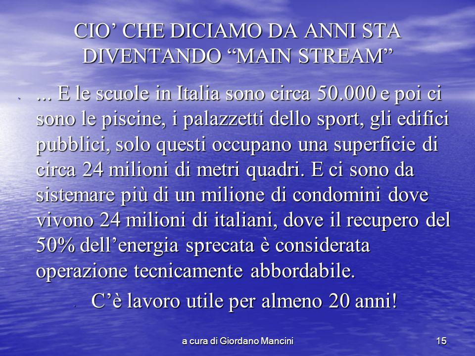 a cura di Giordano Mancini15 CIO' CHE DICIAMO DA ANNI STA DIVENTANDO MAIN STREAM ...
