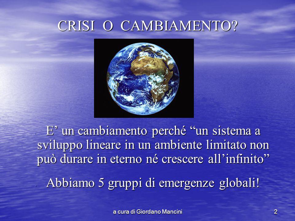 a cura di Giordano Mancini2 CRISI O CAMBIAMENTO.