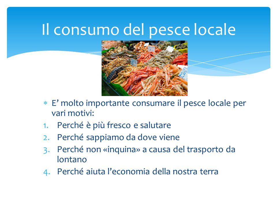  E' molto importante consumare il pesce locale per vari motivi: 1.Perché è più fresco e salutare 2.Perché sappiamo da dove viene 3.Perché non «inquin