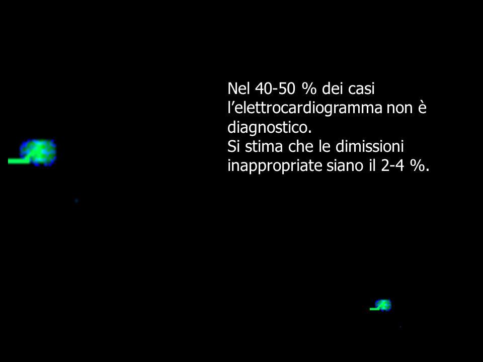 Nel 50-60% dei casi l'elettrocardiogramma non è diagnostico. Si stima che il 25-50% dei pazienti con dolore toracico acuto subiscono un ricovero inapp