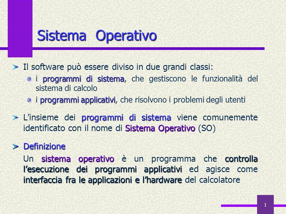 1 Sistema Operativo Il software può essere diviso in due grandi classi: programmi di sistema i programmi di sistema, che gestiscono le funzionalità de