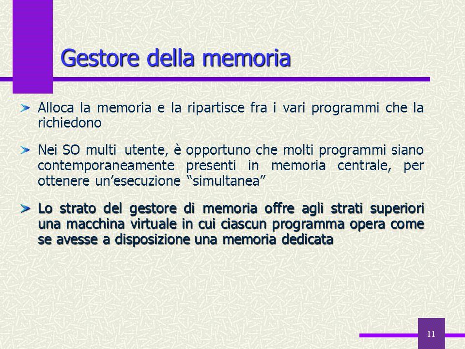 11 Gestore della memoria Alloca la memoria e la ripartisce fra i vari programmi che la richiedono Nei SO multi  utente, è opportuno che molti program