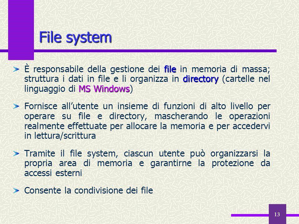 13 file directory MS Windows È responsabile della gestione dei file in memoria di massa; struttura i dati in file e li organizza in directory (cartell